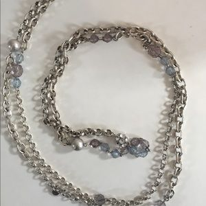 LOFT Extra Long Beaded Rhinestone Chain Necklace